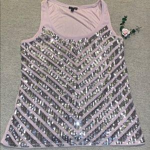 Express sequin blouse/shirt light pink